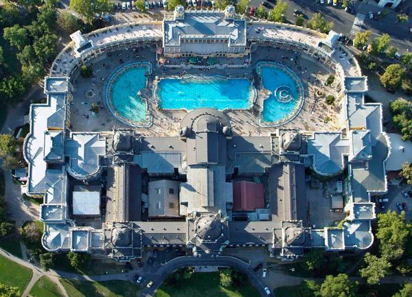 An aerial view of the Széchenyi Thermal Baths and Swimming Pools, built in the City Park of Budapest.