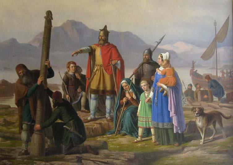 "Ingólfur Arnarson commands his men to erect his high-seat pillars in present-day Reykjavík. The painting, by Johan Peter Raadsig, was a gift to the City of Reykjavík from the Eimskipafelag Islands. From""Ingólfur by Raadsig,""Wikimedia Commons"