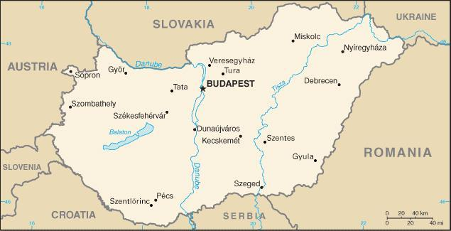 Map of Thermal Waters in Hungary