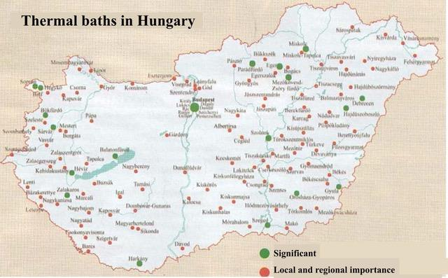 The map illustrates the numbers and locations of thermal baths in Hungary
