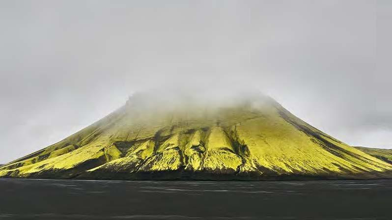 Native sulfur covers the sides of an Icelandic volcano. Courtesy of Promote Iceland
