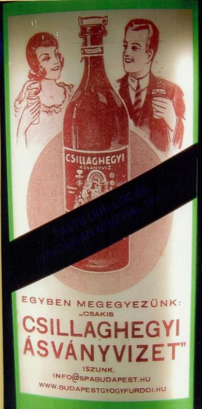 The label on a bottle of mineral water from the Csillaghegyi Baths and Swimming Pool in northern Budapest