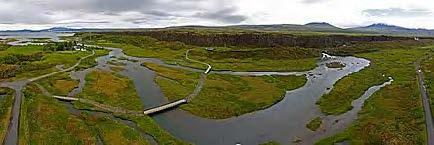 Thingvellir National Park, since 2004 an UNESCO World Heritage Site. From Thingvellir aerial panorama, Wikimedia Commons