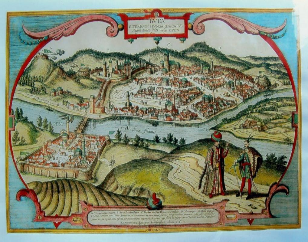 View of the Cities of Buda and Pest (today Budapest), as seen in Ottoman times; after a painting by Joris Hoefnagel published in 1617